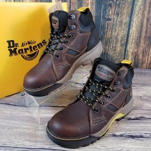 DR. MARTENS BROWN LEATHER STEEL TOED SAFETY BOOTS